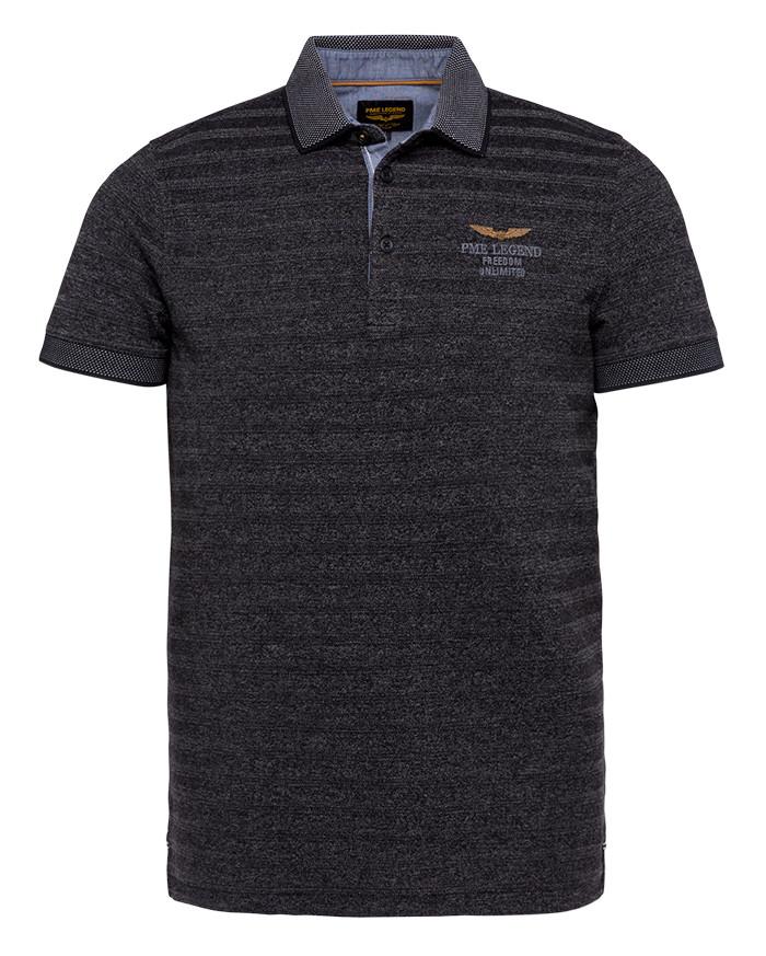 PME Legend Polo Shirt - Dunkelgrau, Gestreift